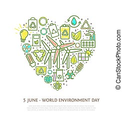 Heart shape element made from eco icons and signs with marker strokes, colorful ecological symbols