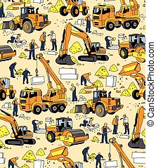 Building people and construction equipment color seamless pattern.