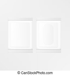 VECTOR PACKAGING: Set of white gray sachet for wipes, toiletries, tissue on isolated white background. Mock-up template ready for design