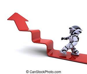 robot climbing a graph - 3D render of a robot climbing a...