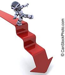 robot on a graph - 3D render of a robot on a graph