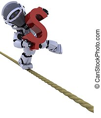 robot on a tight rope - 3D render of a robot balancing on a...
