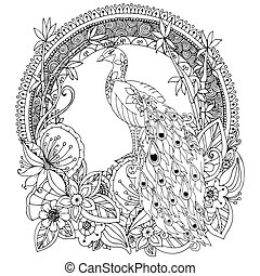 Vector illustration Zen Tangle, peacock and flowers. Doodle...