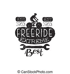 Extreme Freeride Vintage Label With Wrench. Black And White...