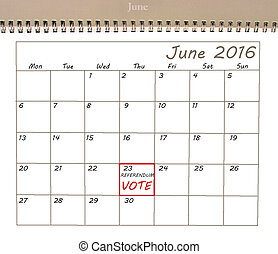 EU Referendum reminder on calendar - EU Referendum reminder...