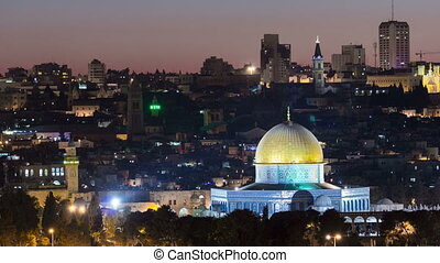 Evening in Old City, Temple Mount with Dome of the Rock timelapse view from the Mt of Olives in Jerusalem