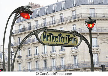 Paris Metro - Old Art Nouveau sign for Paris Metropolitain...
