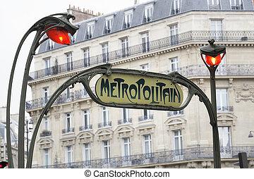 Paris Metro - Old Art Nouveau sign for Paris Metropolitain...
