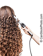 Woman with long hair, hand barber curling irons on white. -...