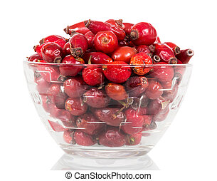 Are dry dog rose berries in glass bowl on white . - Are dry...