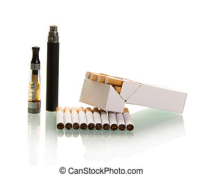 Electronic and pack of cigarettes with filter isolated on...