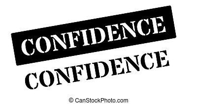 Confidence black rubber stamp on white Print, impress,...