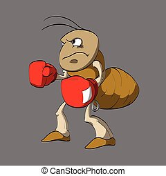 Cartoon ant boxer. - Colorful vector illustration of angry...