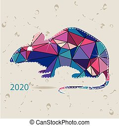 The 2020 new year card with Rat made of triangles