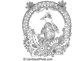 Vector illustration Zen Tangle, a penguin in flower frame....