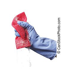 Soapy cloth - Hand holding a soapy synthetic cleaning cloth