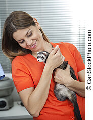 Woman Looking At Weasel In Veterinary - Happy mid adult...