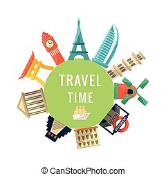 Travel Time Logo With Famous Buildings World Capitals...