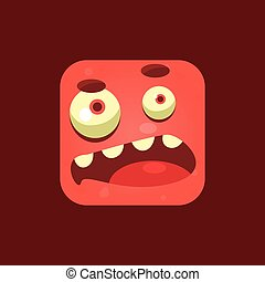 Doubtful Red Monster Emoji Icon. Creative Vector Emoticon...