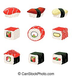 Suchi And Rolls Set Of Realistic Design Vector Stickers...
