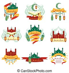 Ramadan Label Set Of Stickers With Islam Symbols In Detailed...