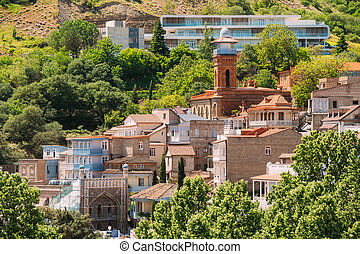 Scenic View Of Tbilisi Old Town, Georgia Historic District...
