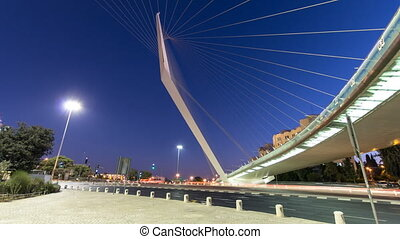 View of the bridge by Santiago Calatrava timelapse...