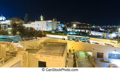 Jerusalem at night timelapse hyperlapse with the Al-Aqsa Mosque and the Mount of Olives