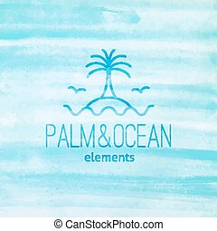 logo with palm, seagulls, island and waves