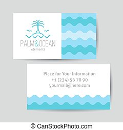 business card with palm, seagulls, island and waves logo