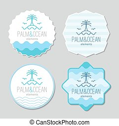stickers with palm, seagulls, island and waves logo