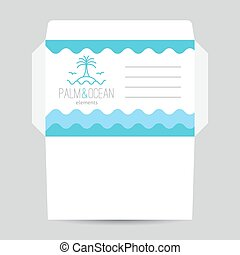 envelope with palm, seagulls, island and waves logo