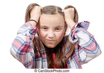 pretty preteen girl angry