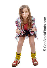 preteen girl in hipster style, angry isolated on white...