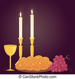 Shabbat candles, kiddush cup and challah. - Illustration of...