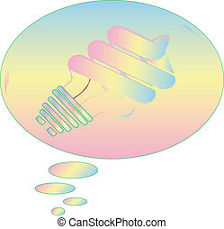 Light Bulb pastel in thought bubble