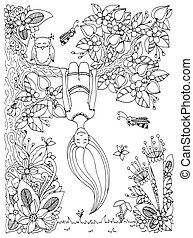Vector illustration Zen Tangle, girl hangs on a tree upside down. Doodle floral frame. Coloring book anti stress for adults. Black white.