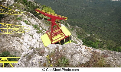 The cable car in Crimea Ai-Petri on a background of...