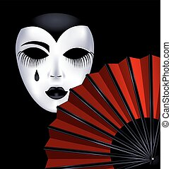black-white mask and red fan - dark background and the red...