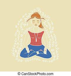 Girl doing yoga poster - Girl doing yoga poster in vector