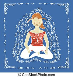 The word yoga and meditating woman - The word yoga and...