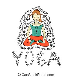 meditating woman illustration. - The word yoga and...