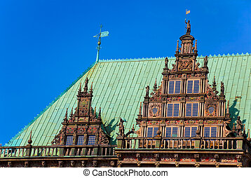 Townhall in Bremen, Germany. - Detail of the famous townhall...