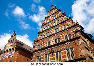 Old Architecture in Bremen, Germany. - The old Weigh House...