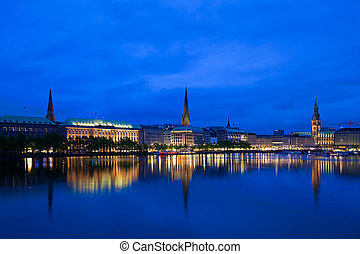 Alster Lake, Hamburg - Alster Lake and Downtown Hamburg