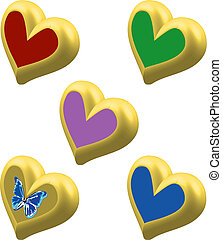 Golden Hearts 3D with color centre and butterly vector...