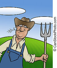Old Farmer - An old farmer with his trusty pitch fork.