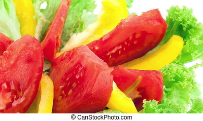 plate with fresh vegetable salad