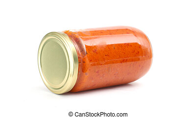 Traditional Macedonian food Ajvar in jar homemade product -...