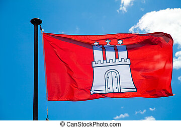 Hamburg City Flag - Flag of the German city Hamburg